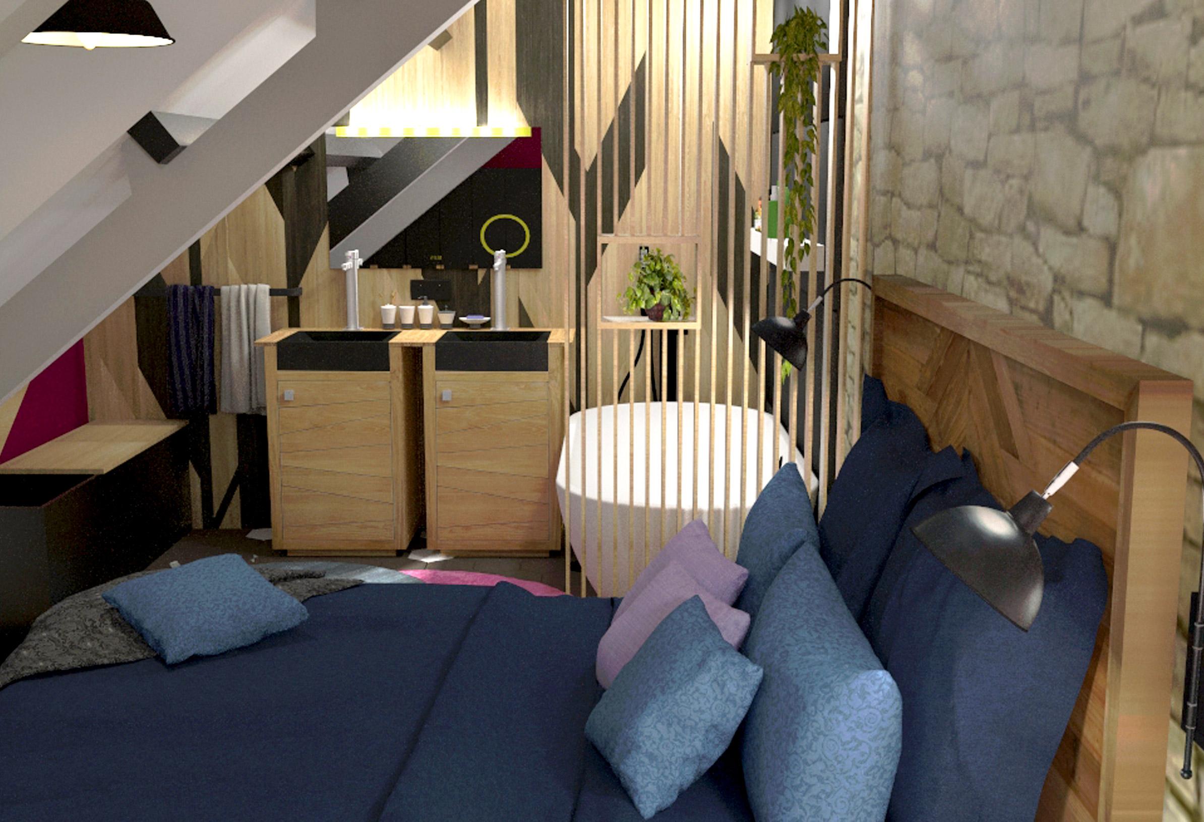 Chambre contemporaine visuel 3D